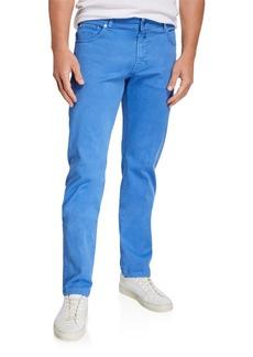 Kiton Men's Twill 5-Pocket Pants  Light Blue