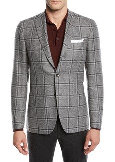 Kiton Men's Windowpane Cashmere Sport Coat
