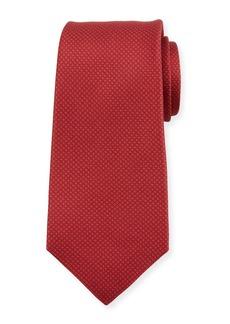 Kiton Micro Houndstooth Silk Tie  Red