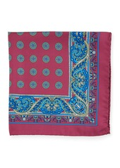 Kiton Paisley Circles Silk Pocket Square  Red
