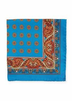 Kiton Paisley Circles Silk Pocket Square  Blue