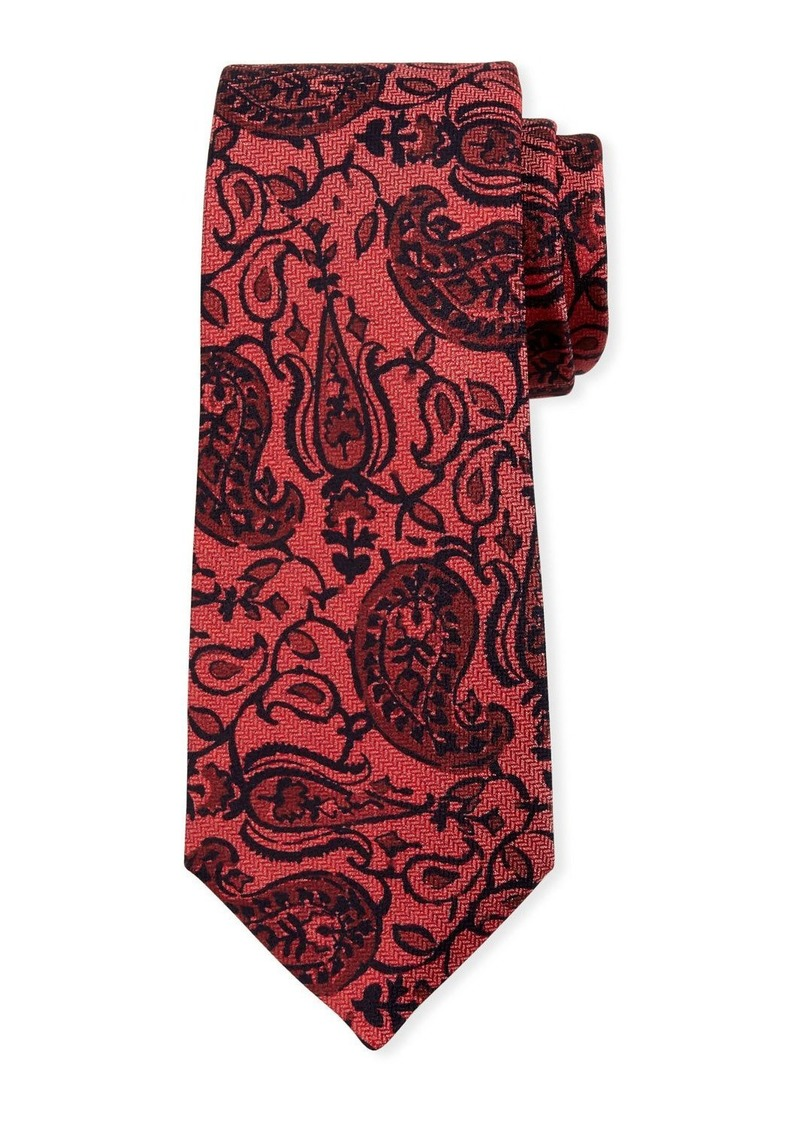 Kiton Paisley on Chevron Silk Tie  Red