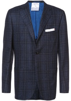 Kiton plaid print suit jacket
