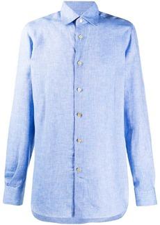Kiton pointed collar linen shirt
