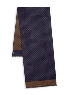 Kiton Polka Dot Wool & Silk Scarf