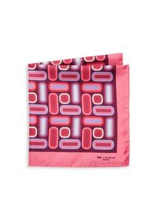 Kiton Rectangles-Print Silk Pocket Square