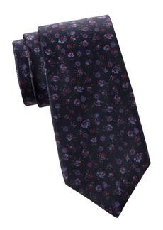 Kiton Rose Print Silk Tie