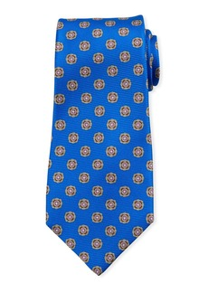 Kiton Round Medallion Silk Tie  Blue