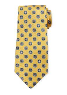 Kiton Round Medallion Silk Tie  Yellow