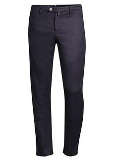 Kiton Straight-Leg Flat-Front Herringbone Twill Pants