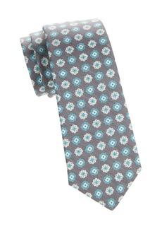 Kiton Textured Floral Silk & Linen Tie