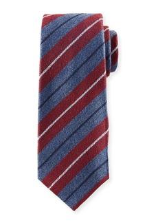Kiton Textured Large-Stripe Silk Tie