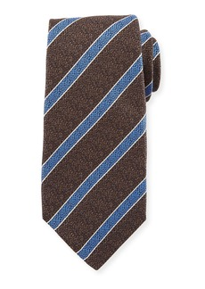 Kiton Textured Medium Stripe Silk Tie  Brown