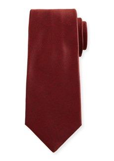 Kiton Textured Solid Silk Tie  Red