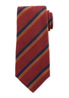Kiton Two-Color Stripe Silk Tie