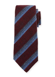 Kiton Variegated Stripe Wool/Silk Tie  Red