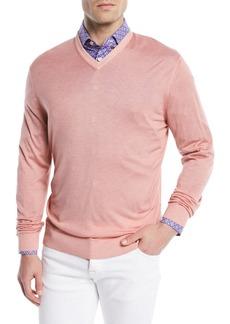 Kiton Washed Cashmere-Silk V-Neck Sweater
