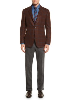 Kiton Wool Stretch Flannel Flat-Front Pants