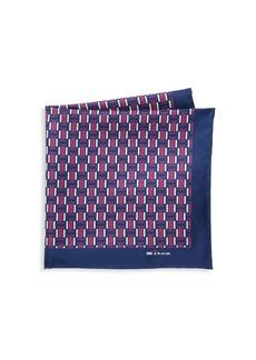 Kiton Woven Print Silk Pocket Square