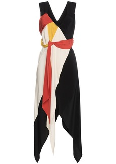 KITX black and red Diversity Spiral draped silk dress