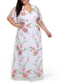 Plus Size Women's Kiyonna Embroidered Elegance Floral Gown