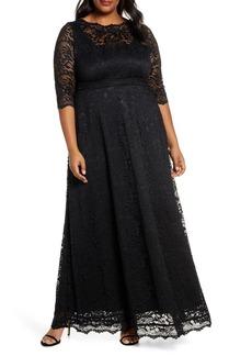 Plus Size Women's Kiyonna Leona Lace Evening Gown