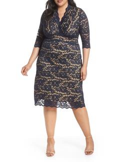 Plus Size Women's Kiyonna Scalloped Boudoir Lace Sheath Dress