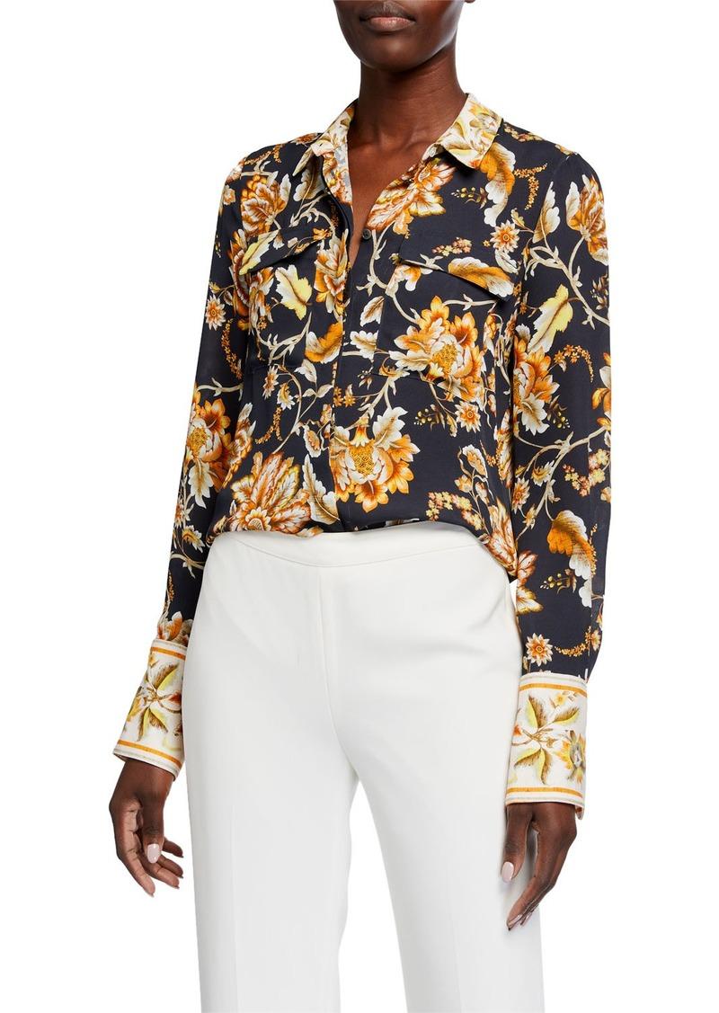 Kobi Halperin Alisa Floral-Print Silk Button-Down Blouse
