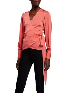 Kobi Halperin Amara Stretch Silk Long-Sleeve Wrap Blouse