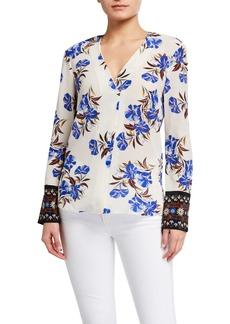 Kobi Halperin Andes Floral Long-Sleeve Silk Blouse