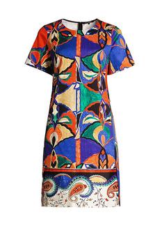 Kobi Halperin Angie Mixed-Print Stretch-Cotton Shift Dress