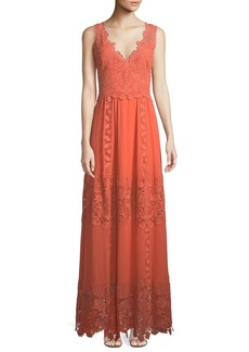 Kobi Halperin Audra Lace-Trim Silk Maxi Dress