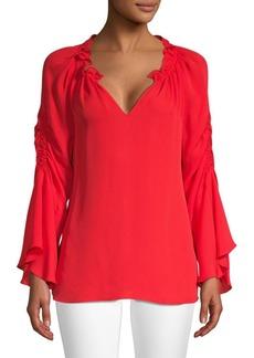Kobi Halperin Carolina Ruched Silk Bell-Sleeve Blouse