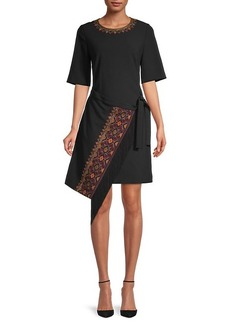 Kobi Halperin Chelsea Embroidery Elbow-Sleeve Wrap Dress