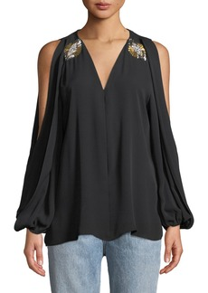 99fea59ab9748 Kobi Halperin Cold-Shoulder Jeweled Silk Blouse