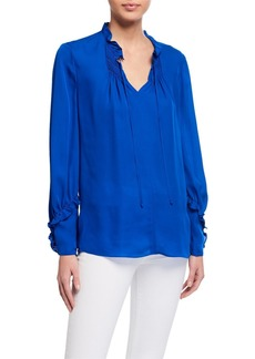 Kobi Halperin Devon Long-Sleeve Silk Blouse