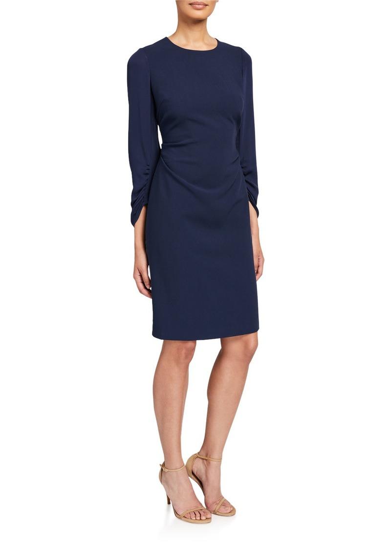 Kobi Halperin Drew Jewel-Neck Ruched-Sleeve Sheath Dress