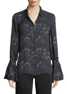 7f8cd6d29330e Kobi Halperin Edina Bell-Cuff Button-Front Printed Silk Blouse