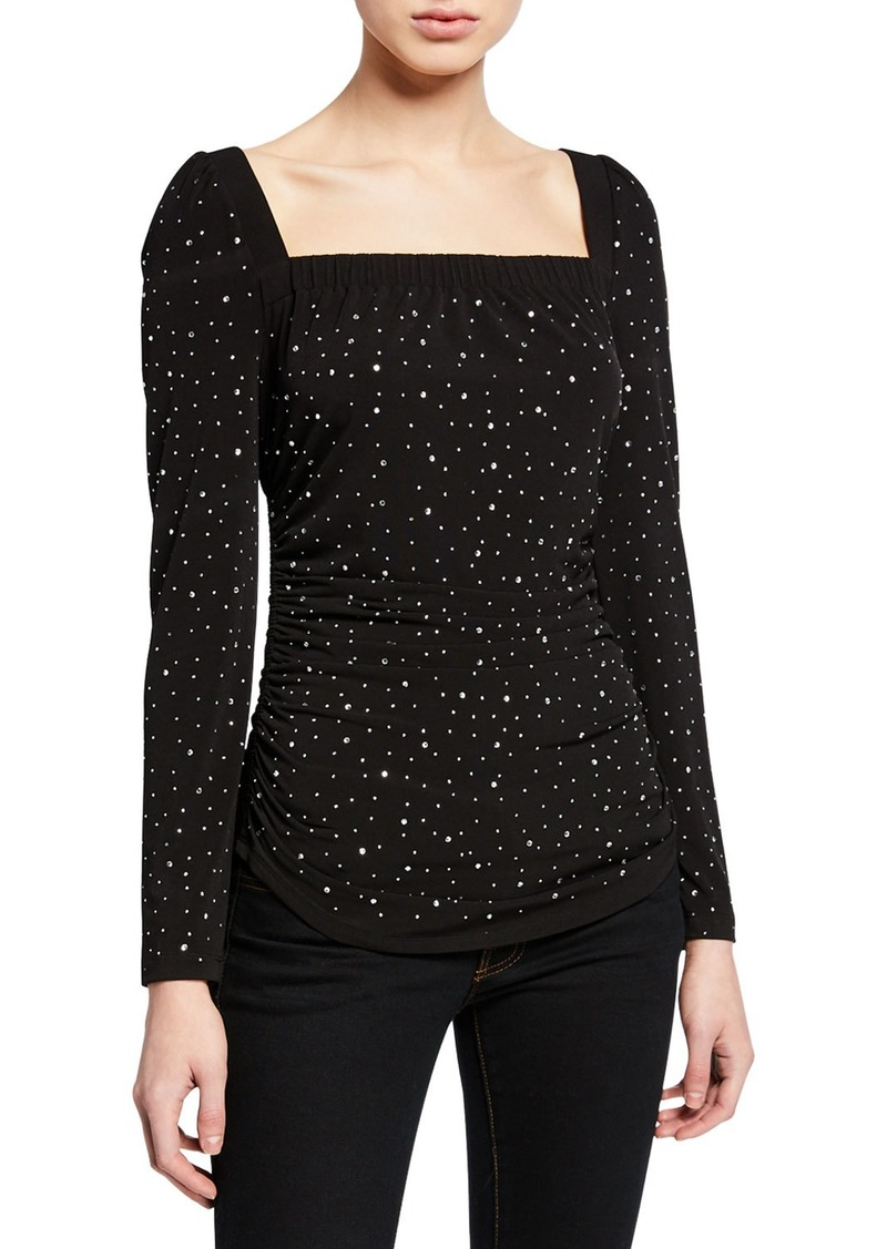 Kobi Halperin Ember Dot Embellished Long-Sleeve Shirred Blouse