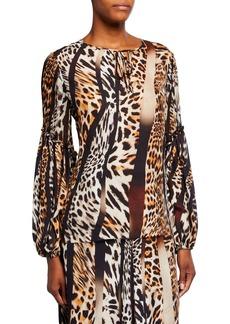 Kobi Halperin Fallon Animal-Print Blouson-Sleeve Silk Blouse