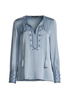 Kobi Halperin Giselle Embroidered Silk-Blend Blouse