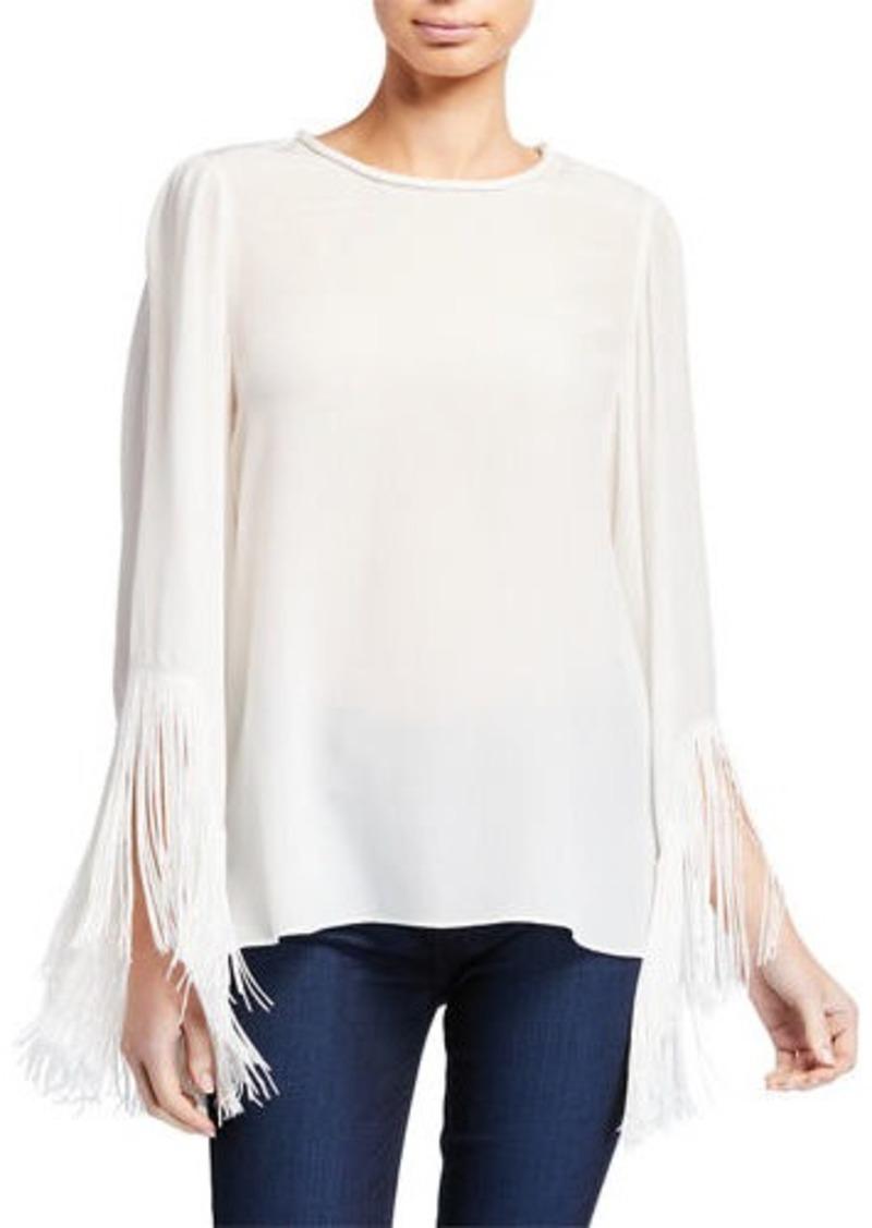 Kobi Halperin Joanie Crewneck Fringe-Sleeve Silk Blouse