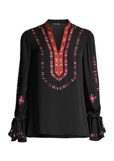 Kobi Halperin Junie Embroidered Silk Blouse