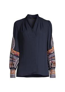 Kobi Halperin Keely Embroidered-Sleeve Blouse