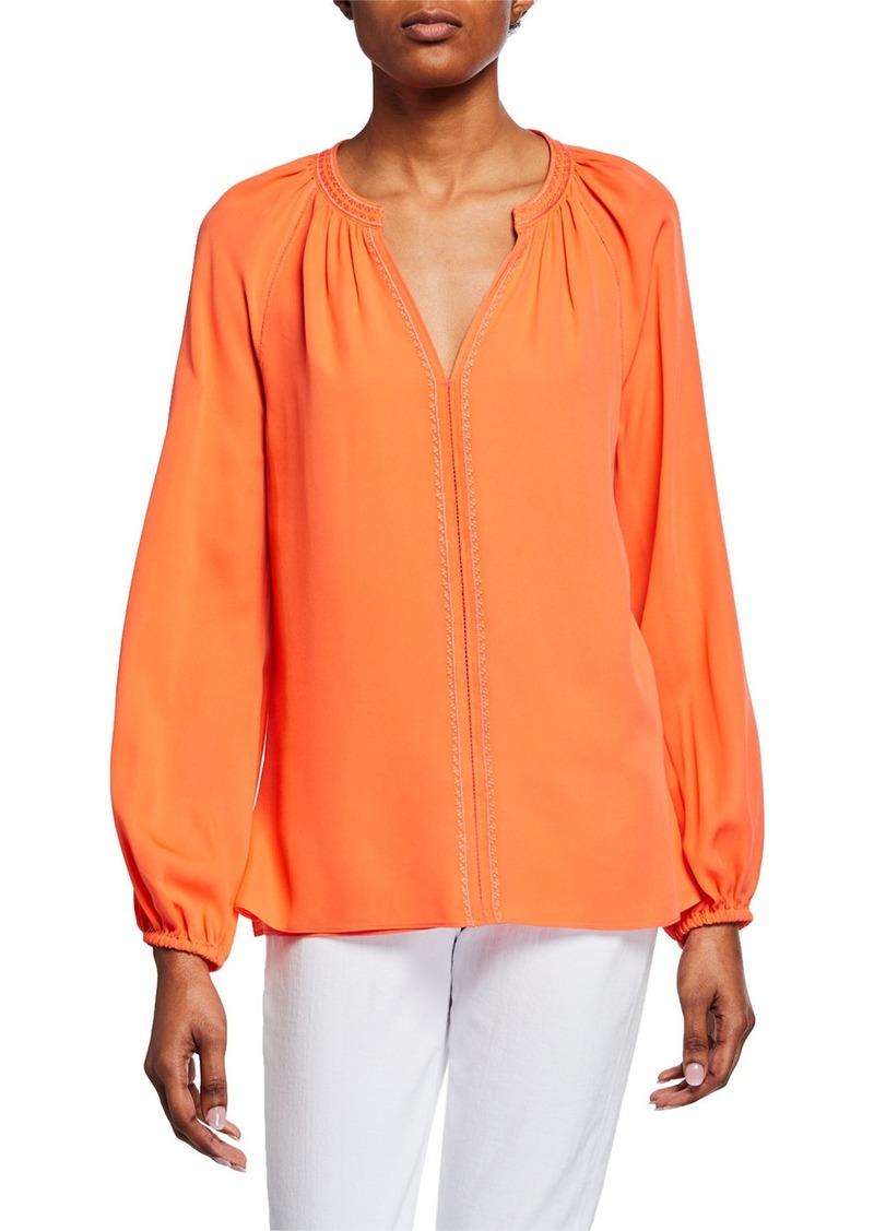 Kobi Halperin Kirna V-Neck Long-Sleeve Silk Blouse