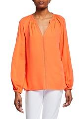 6fa847f555ebd Kobi Halperin Kirna V-Neck Long-Sleeve Silk Blouse ...