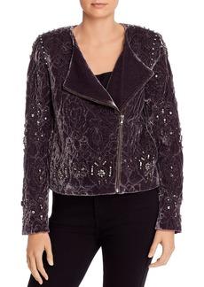 Kobi Halperin Emily Quilted Velvet Jacket with Rhinestones