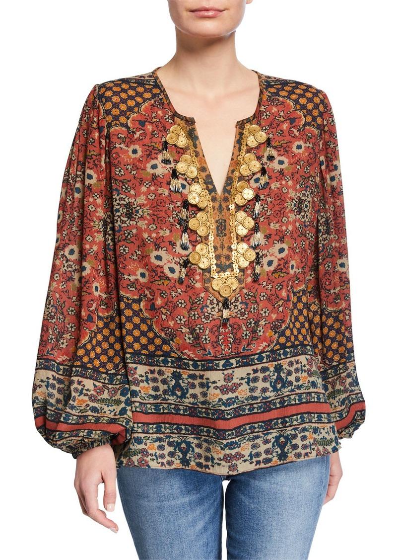 Kobi Halperin Leah Embellished V-Neck Blouson-Sleeve Silk Blouse