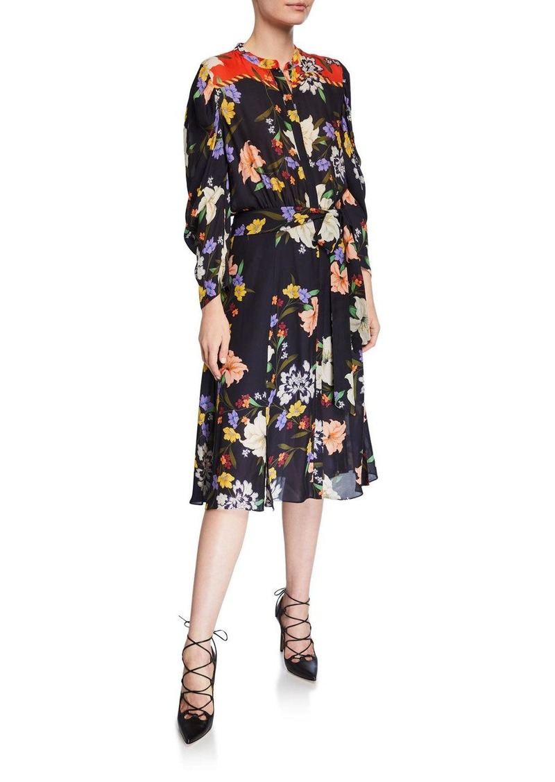 Kobi Halperin Leila Floral Button-Front Long-Sleeve Dress