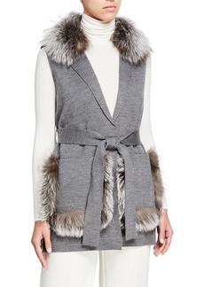 Kobi Halperin Lynn Sweater Vest w/ Fur Trim